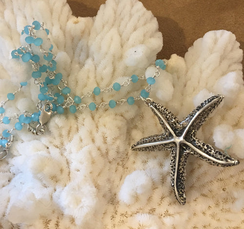 Gorgeous Vintage-Antique Starfish pendant necklace with chalcedony & sterling chain