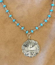 """California"" State Seal Reproduction Pendant Necklace of Vintage Piece turquoise and wire wrap"