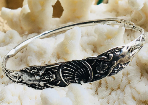 Art Nouveau mermaid reproduction bangle, mermaid with shell