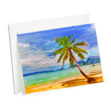 Set of 6 Art Note Cards-Single Swaying Palm