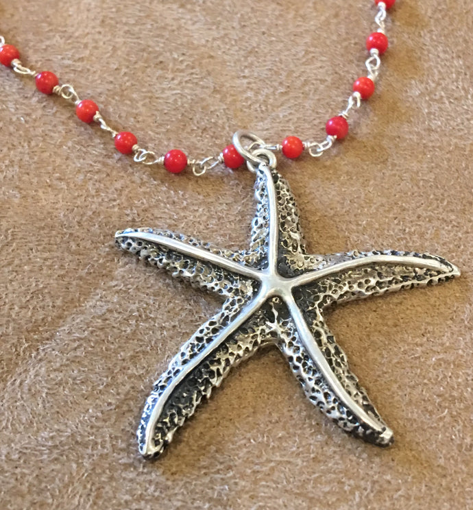 Starfish pendant necklace sterling silver with coral & sterling chain