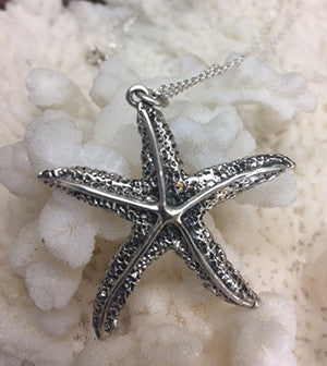 Starfish Pendant Necklace-sterling silver Vintage/Reproduction