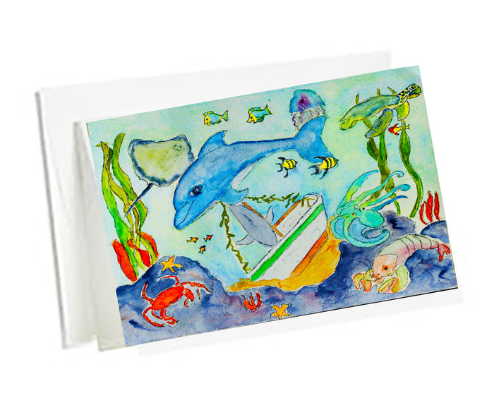 6 Art Note Cards-Underwater Fun 3.5 x 5