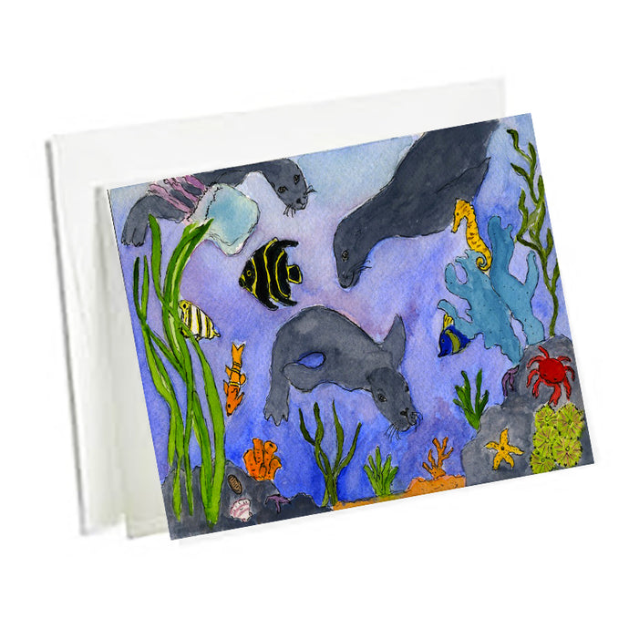 6 Art Note Cards-Underwater Too 3.5 x 5
