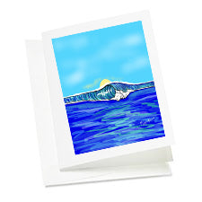 6 Note Cards-Wave with Sun