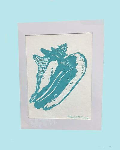 Conch Shell Print-Turquoise