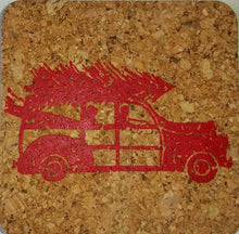 Holiday Hostess gift/HOLIDAY WOODY WAGON/cork/Coastal Cork Coasters - Set of 4