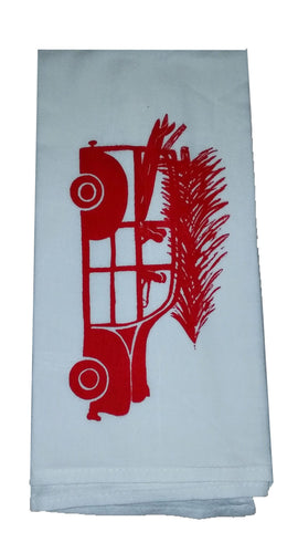 2 Holiday Surf Woody Wagon Flour Sack Dish Towels custom designed-red