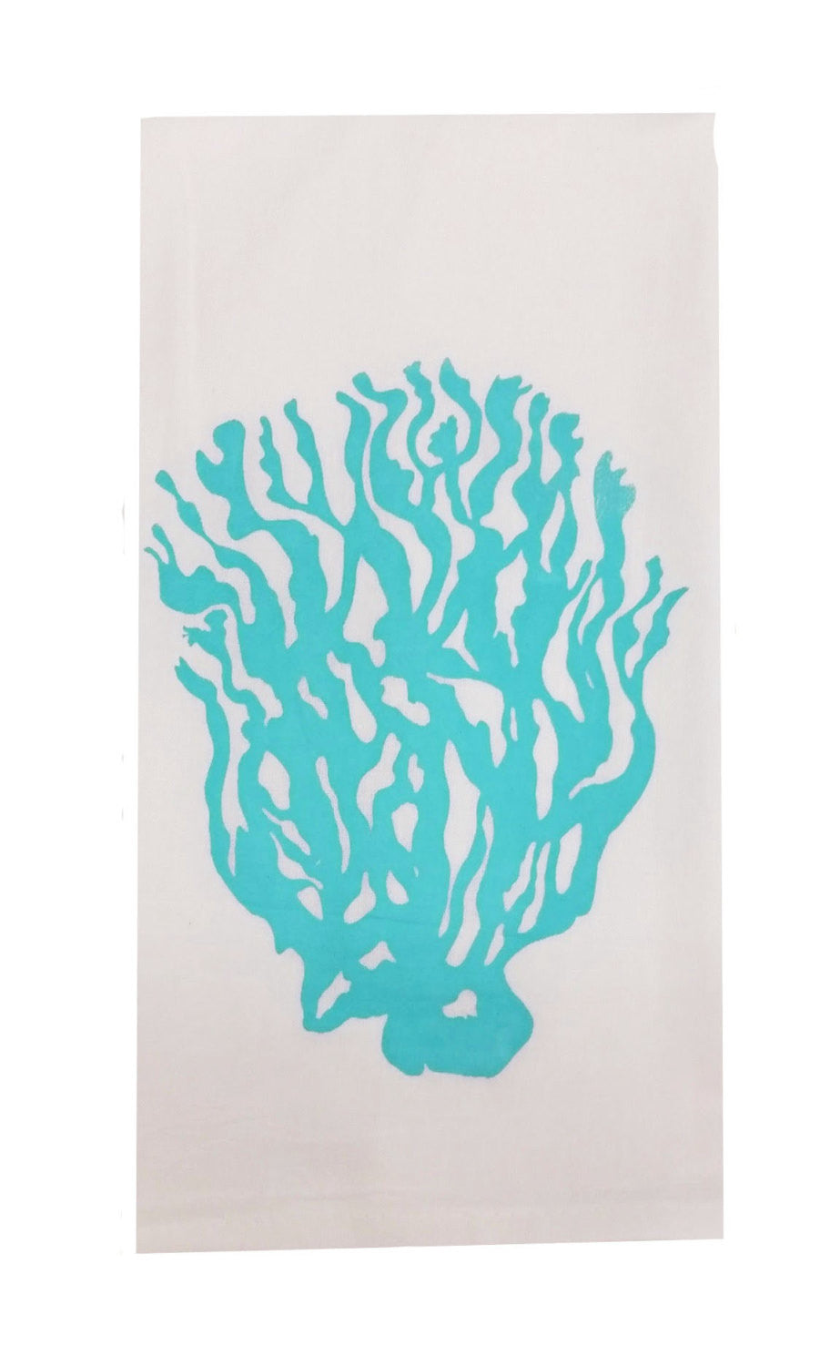 Set of Two Coral Flour Sack Dish Towels-Aqua
