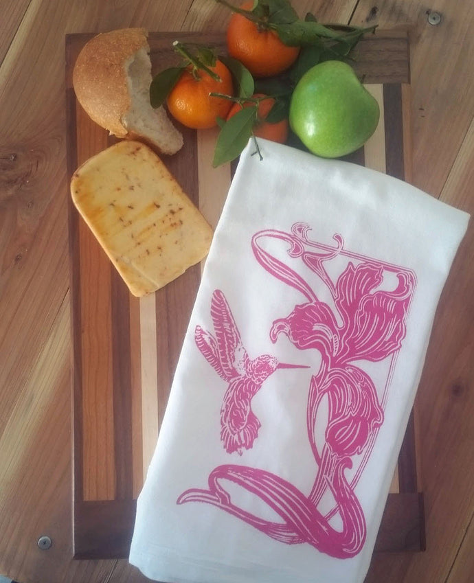 Two Lily Flower/Hummingbird Flour Sack Dish Towels-Hot Pink