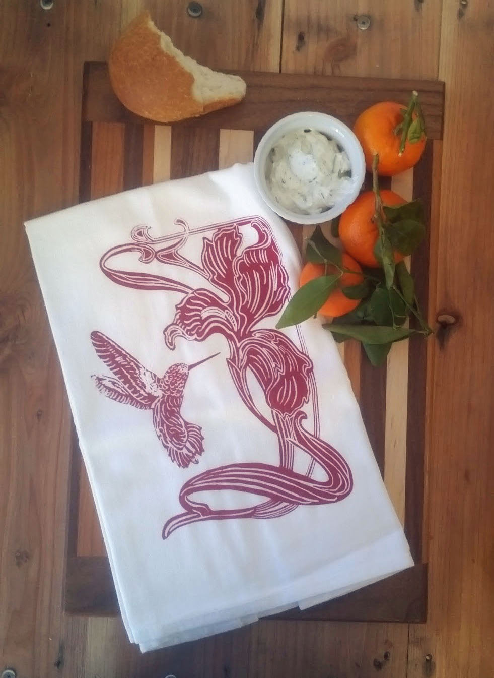 Two Lily Flower/Hummingbird Flour Sack Dish Towels-Barn Red