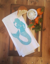 Two Mermaid Flour Sack Dish Towels-Aqua-Frontside