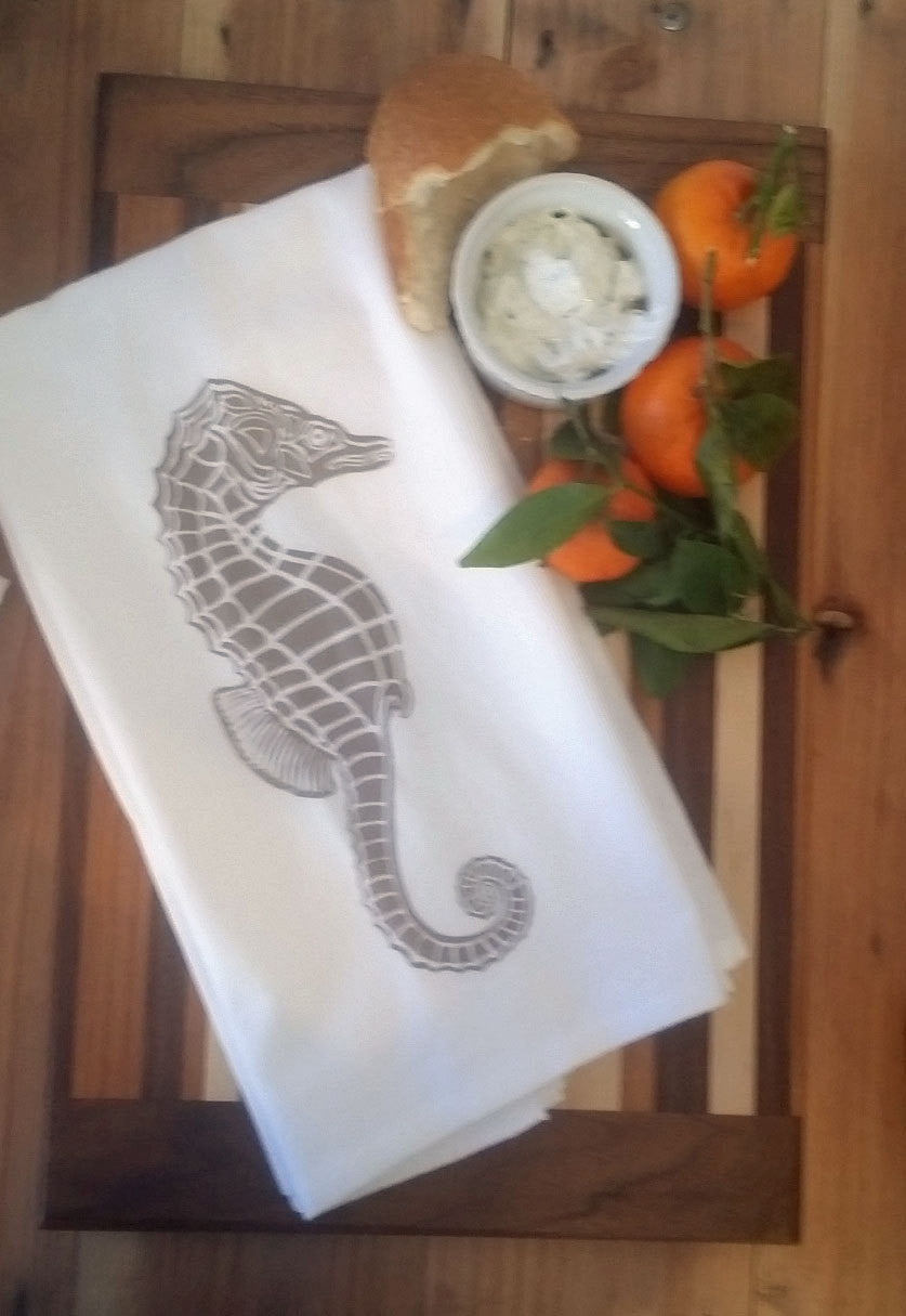 Two Sea Horse Flour Sack Dish Towels-Taupe