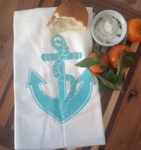 Two Anchor Flour Sack Dish Towels-Aqua