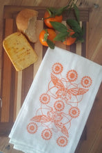 Two Butterfly Design Flour Sack Towels-Orange