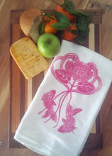 Two Lotus Flower/Koi Flour Sack Dish Towels-Hot Pink