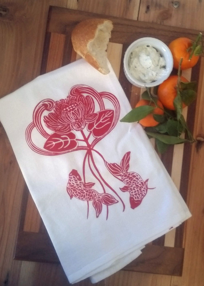 Two Lotus Flower/Koi Flour Sack Dish Towels-Red