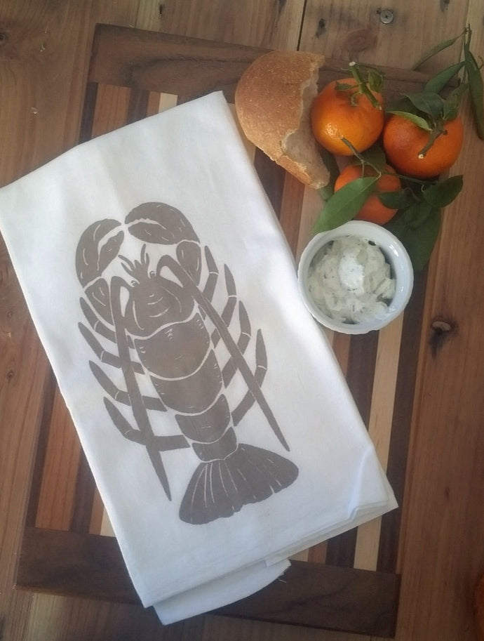 Two Lobster Flour Sack Dish Towels-Taupe