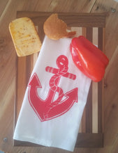 Two Anchor Flour Sack Dish Towels-Red