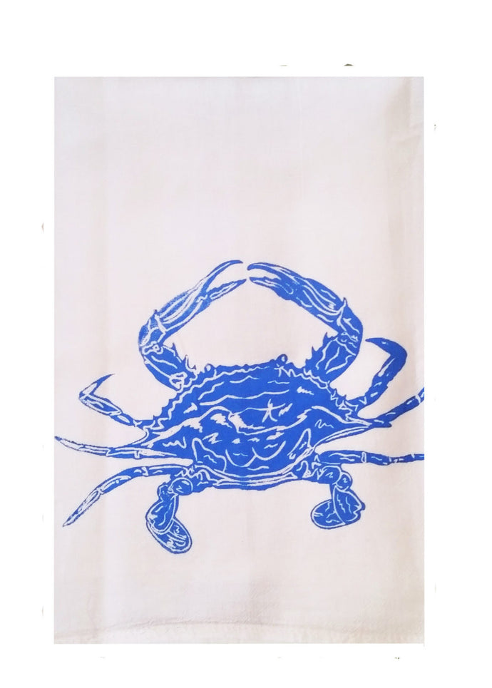 Two Blue Crab Flour Sack Dish Towels-Med Blue