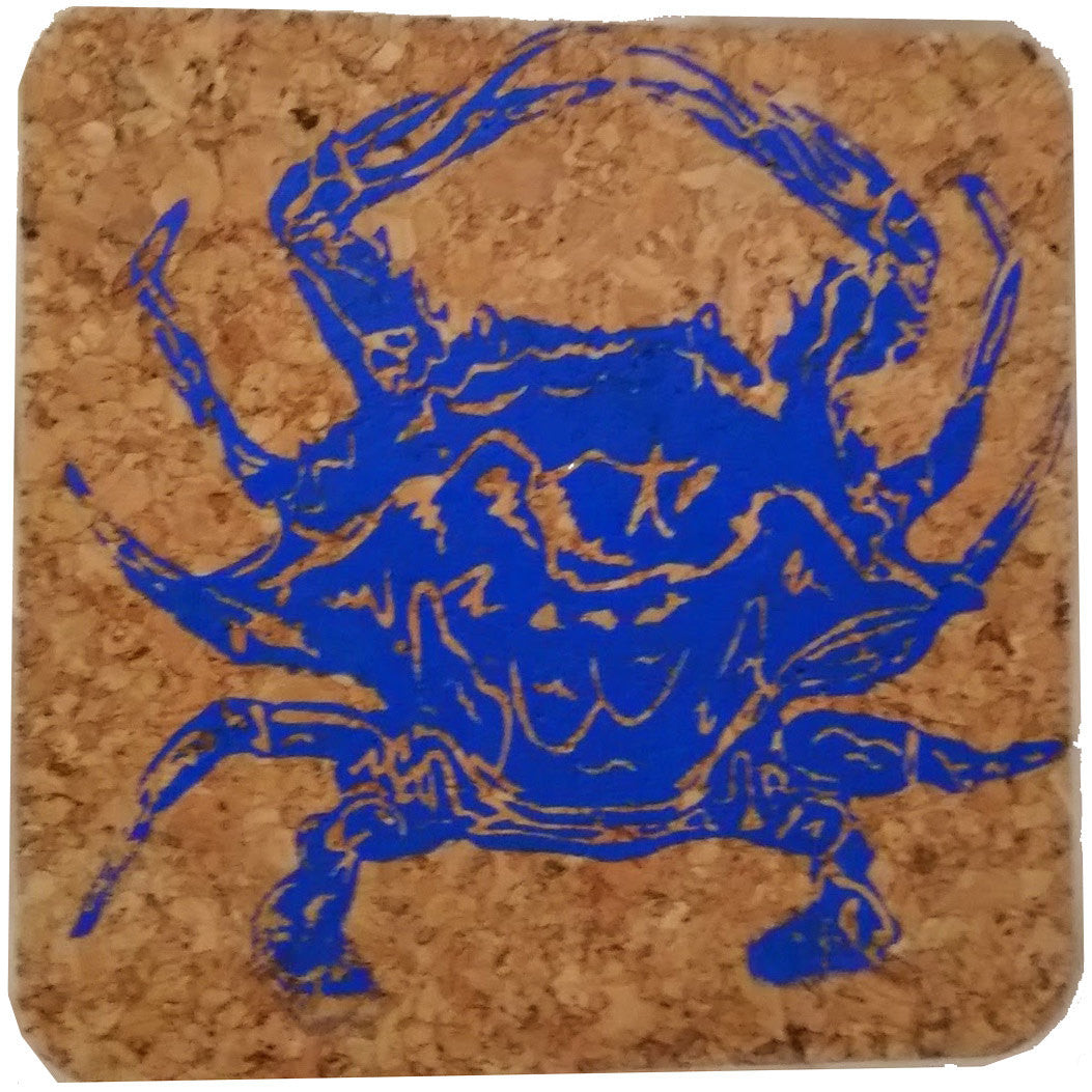 Blue Crab; Beach Hostess gift/BBQ/ picnic/party/cork/Coastal Cork Coasters - Set of 4 Marine Blue