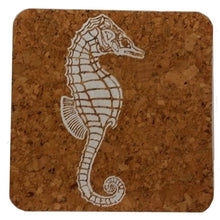 Sea Horse; Beach Hostess gift/BBQ/ picnic/party/cork/Coastal Cork Coasters - Set of 4, white