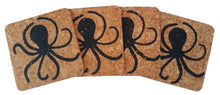 Octopus Coasters - Cork-Set of 4; Beach Hostess gift/BBQ/ picnic/party/cork/Coastal-black