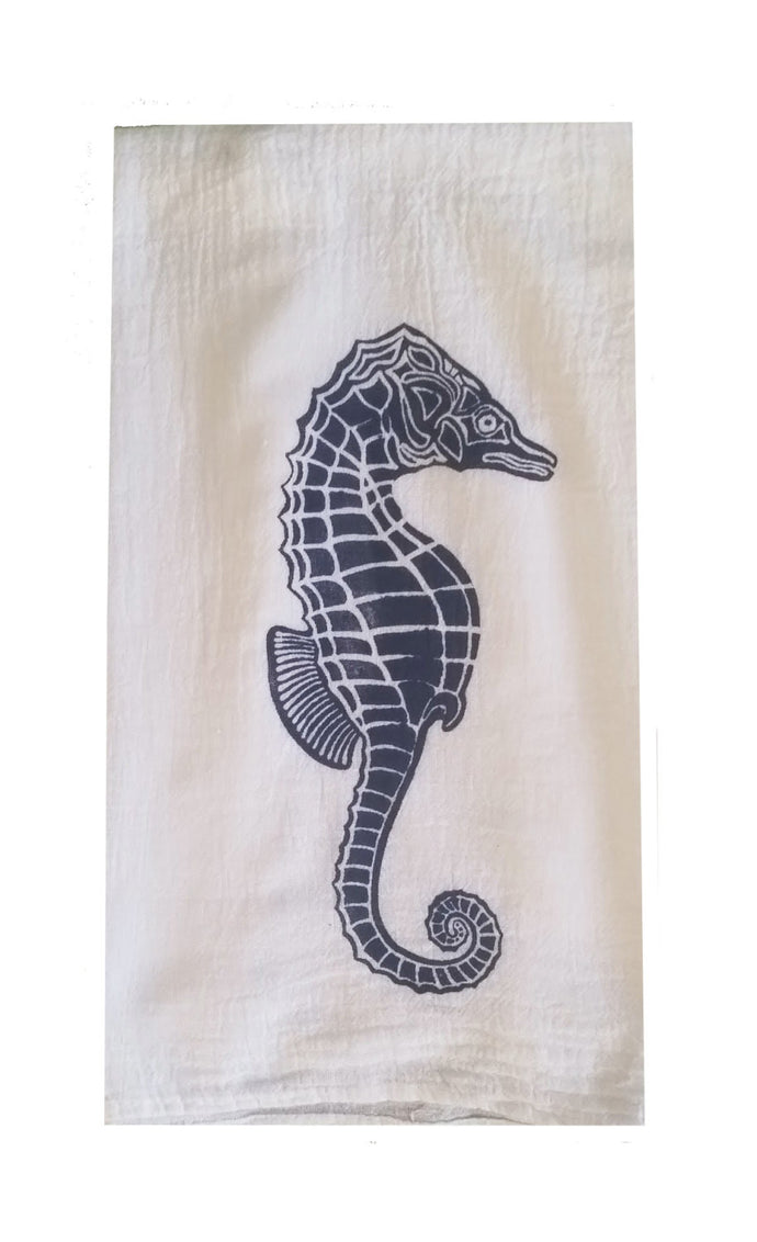 Set of 2 Sea Horse Flour Sack Dish Towels custom designed-Navy