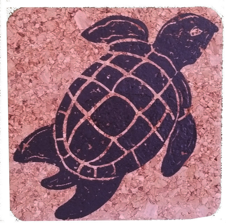 Sea Turtle-Coastal Cork Coasters-Hostess Gift/Party/Home Decor-Black