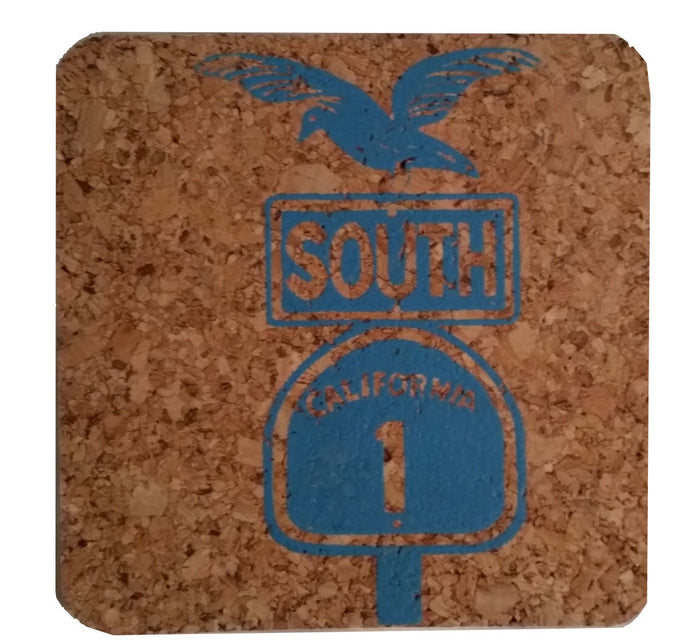 Pacific Coast Highway South-Coastal Cork Coasters-Hostess Gift/Party/Home Decor-Turquoise Blue