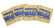Duffy Electric Boat-Coastal Cork Coasters-Hostess Gift/Party/Home Decor-Navy Blue