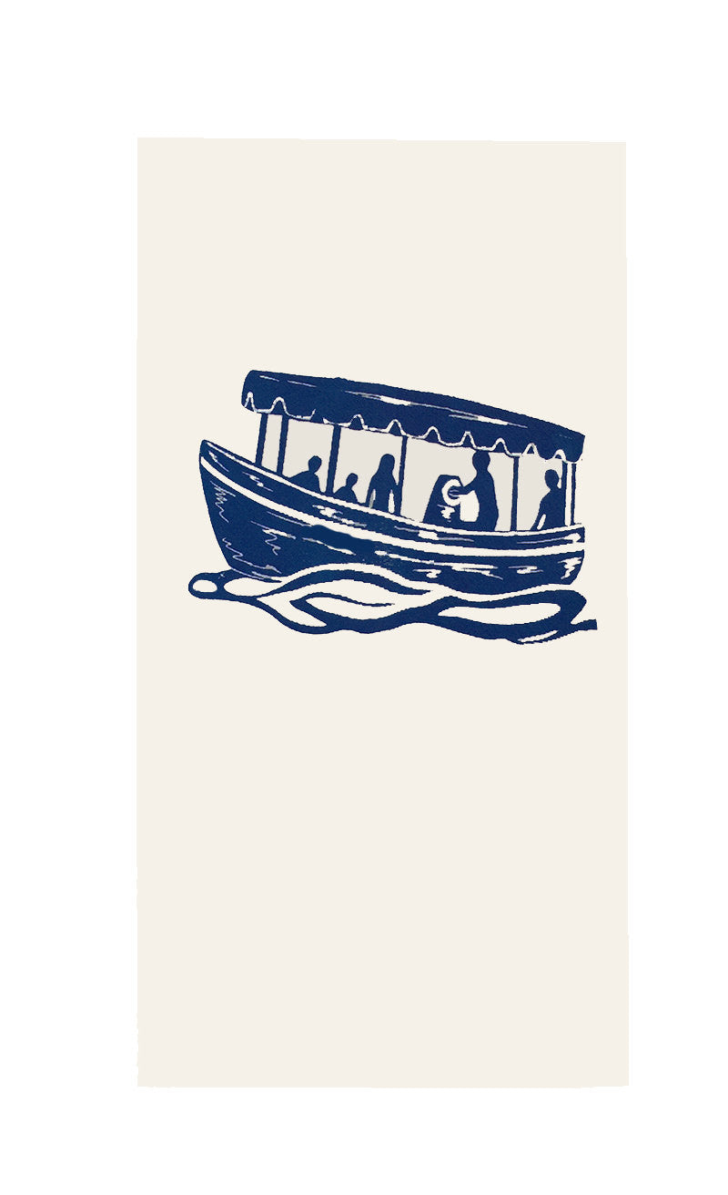 Two Electric/Duffy Boat Flour Sack Dish Towels-Navy Blue