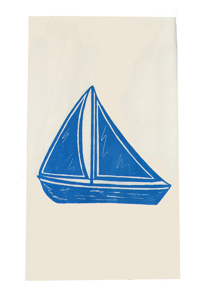 Two Sailboat Flour Sack Dish Towels-Swiss Blue