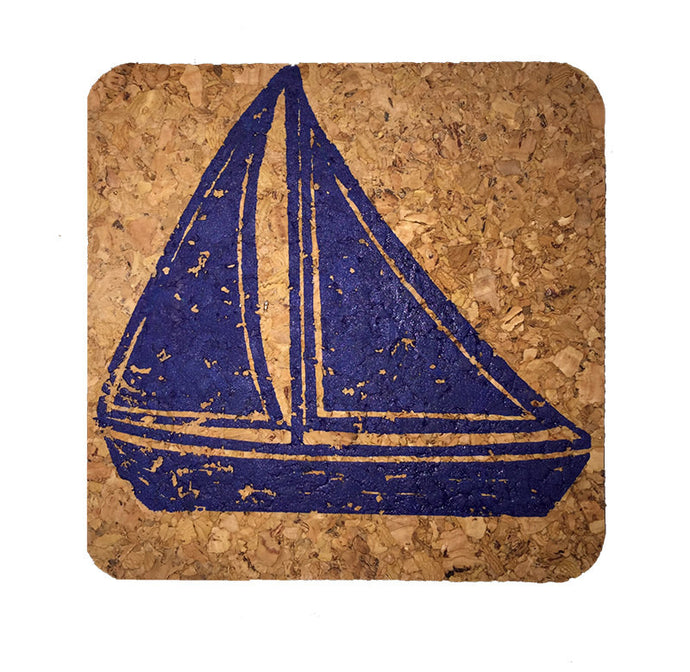 Sailboat; Beach Hostess gift/BBQ/ picnic/party/cork/Coastal Cork Coasters - Set of 4 Marine Blue