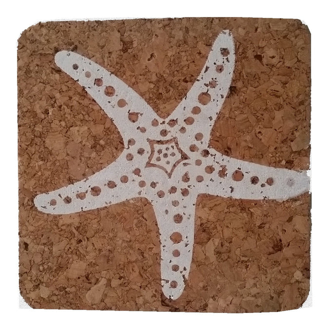 Starfish; Beach Hostess gift/BBQ/ picnic/party/cork/Coastal Cork Coasters - Set of 4, White