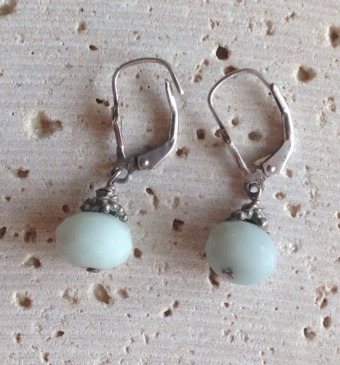 Sterling and amazonite drop earrings