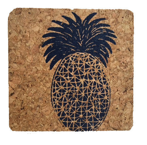 Pineapple-Coastal Cork Coasters-Hostess Gift/Party/Home Decor-Navy Blue