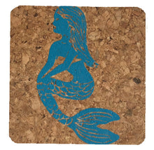 Mermaid in Profile-Coastal Cork Coasters-Hostess Gift/Party/Home Decor-Turquoise Blue