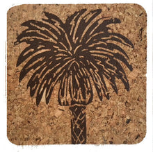 Palm Tree-Coastal Cork Coasters-Hostess Gift/Party/Home Decor-Aqua
