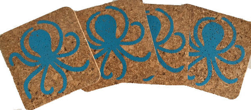 Octopus-Coastal Cork Coasters-Hostess Gift/Party/Home Decor-Turquoise Blue