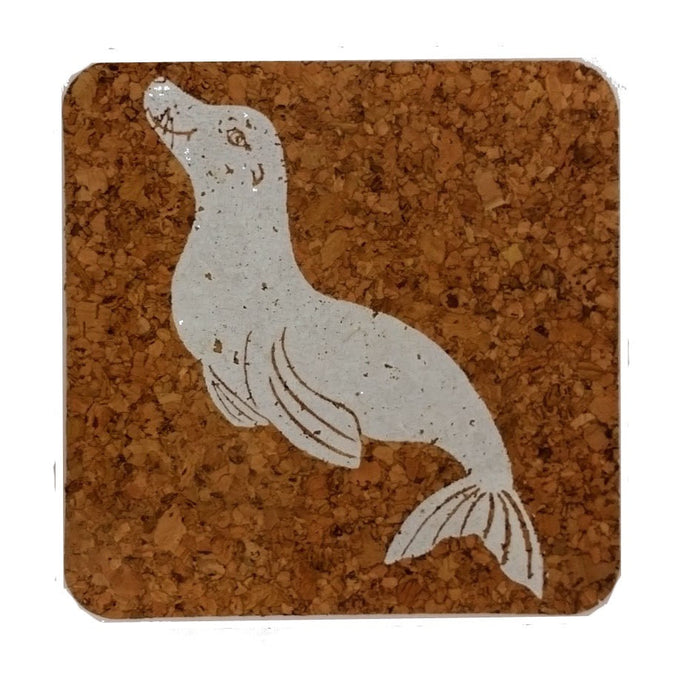 Seal-Coastal Cork Coasters-Hostess Gift/Party/Home Decor-White