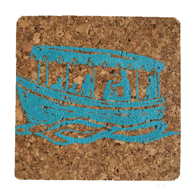 Duffy Boat-Coastal Cork Coasters-Hostess Gift/Party/Home Decor-Turquoise