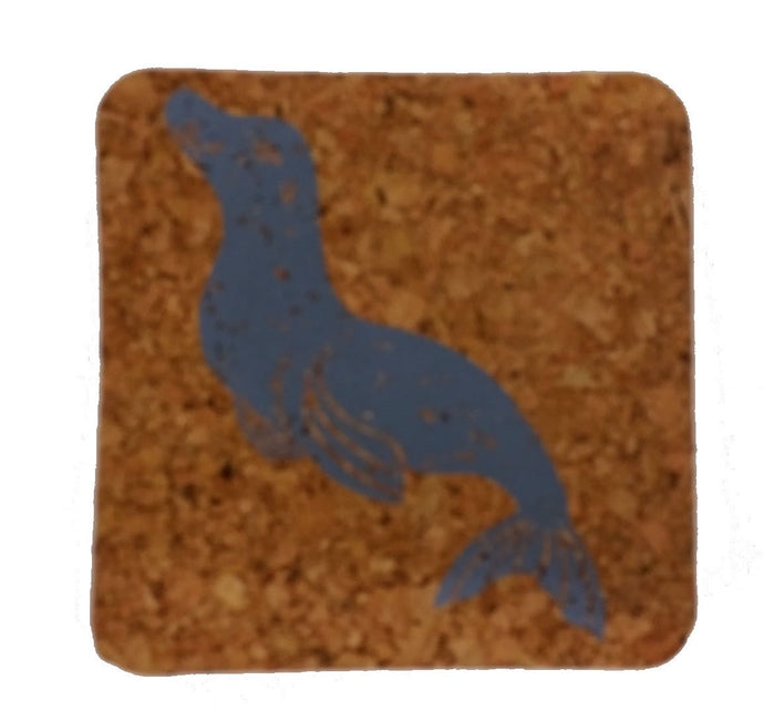 Seal-Coastal Cork Coasters-Hostess Gift/Party/Home Decor-Gray