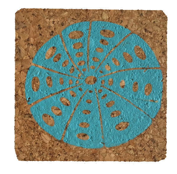 Sea Urchin-Coastal Cork Coasters-Hostess Gift/Party/Home Decor-Turquoise