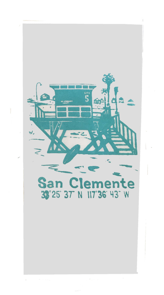 San Clemente Lifeguard Tower Sack Dish Towels-Turquoise