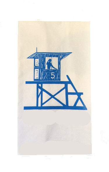 Newport Beach/Corona del Mar Lifeguard Tower #5 Flour Sack Dish Towels-Swiss Blue