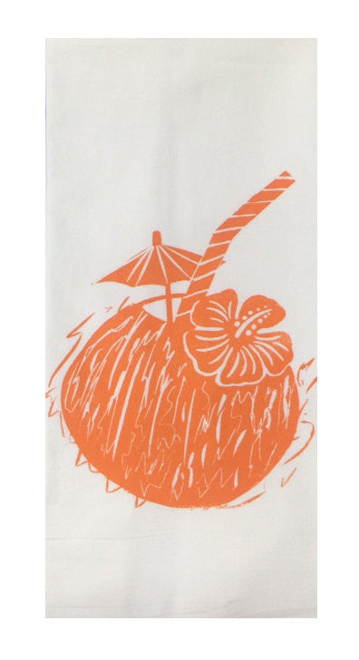 Two Coconut Flour Sack Dish Towels-Orange