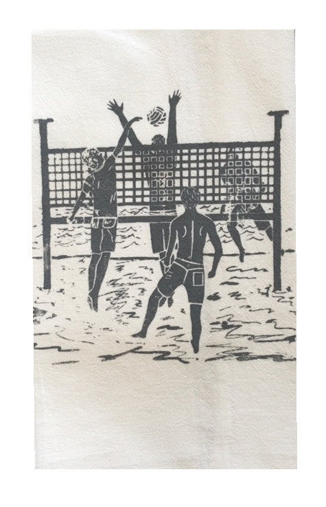 Set of 2: 2 Man Volleyball Game Flour Sack Dish Towels-Gray