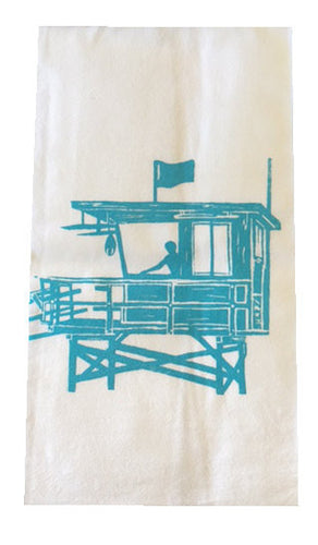 Los Angeles County Lifeguard Tower Flour Sack Dish Towels-Turquoise
