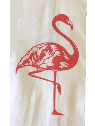 2 Flamingo Flour Sack Dish Towels custom design-Melon